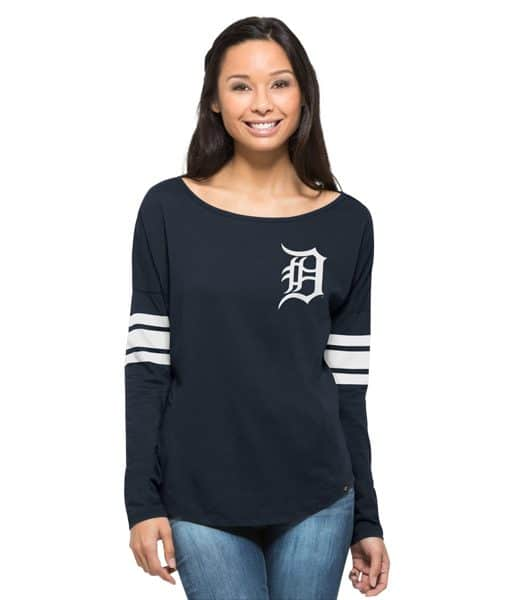 Detroit Tigers 47 Brand Womens Ultra Courtside Navy Long Sleeve Shirt