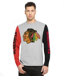 Chicago Blackhawks Circuit Ls T-Shirt Mens Og Grey 47 Brand