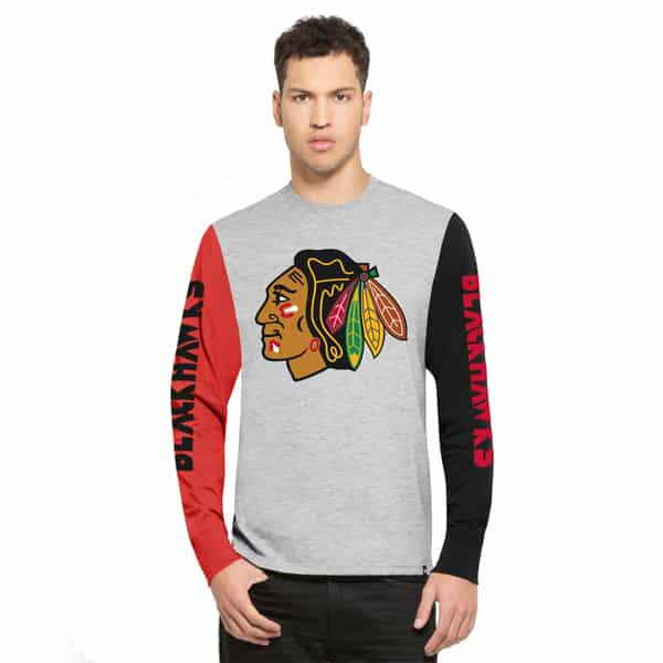Chicago Blackhawks Circuit Ls T-Shirt Mens Og Grey 47 Brand
