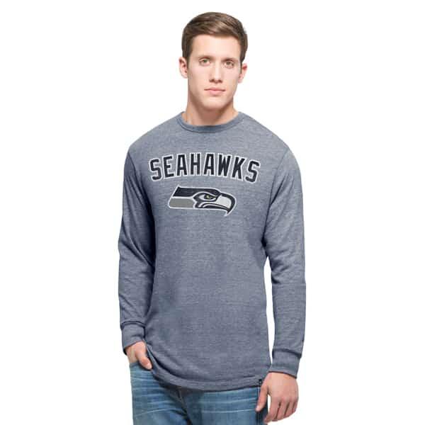 Seattle Seahawks Team Tri-State Long Sleeve T-Shirt Mens Nightfall 47 Brand