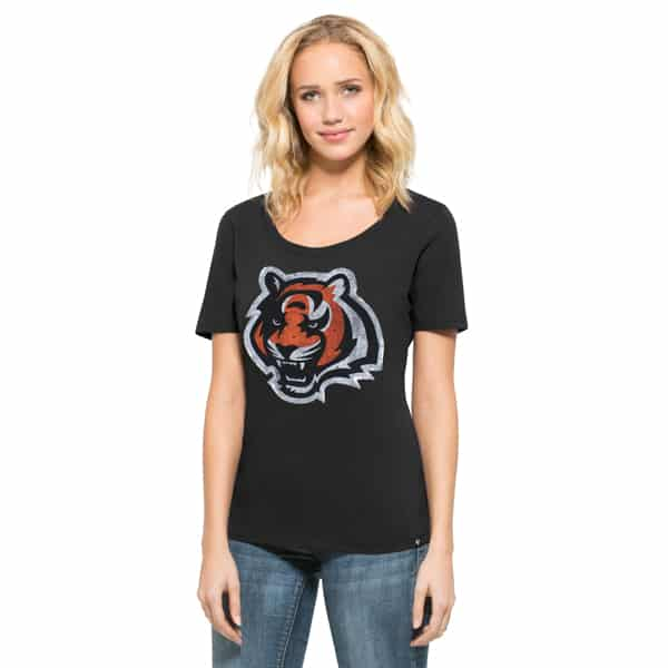 Cincinnati Bengals Lux Sequins Runback Scoop Womens Jet Black 47 Brand