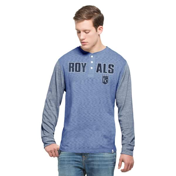 Kansas City Royals Tri-State Henley Mens Light Grey 47 Brand Long Sleeve Shirt