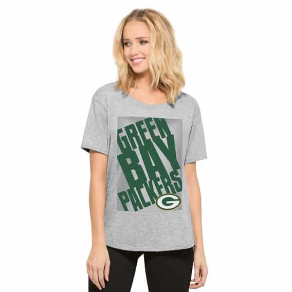 Green Bay Packers Heather Boyfriend T-Shirt Womens Og Grey 47 Brand