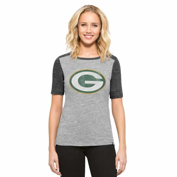 Green Bay Packers Empire T-Shirt Womens Vintage Grey 47 Brand