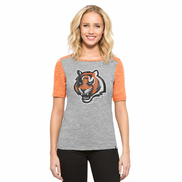 Cincinnati Bengals Empire T-Shirt Womens Vintage Grey 47 Brand