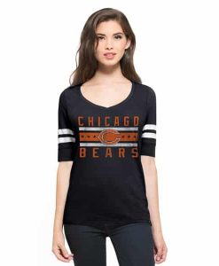 Chicago Bears Flanker Backer Stripe T-Shirt Womens Fall Navy 47 Brand