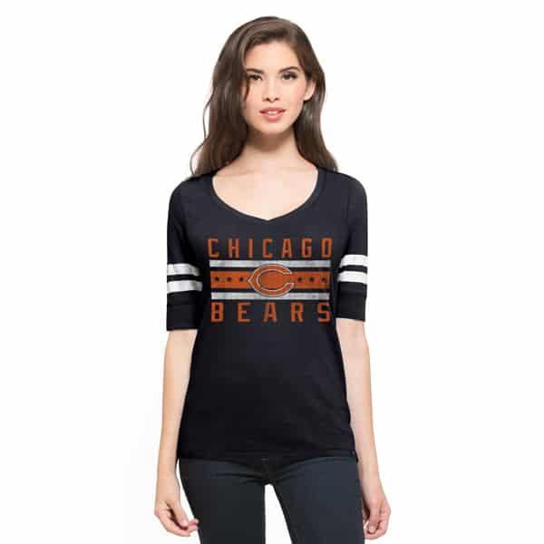 Chicago Bears Flanker Backer Stripe T-Shirt Womens Fall Navy 47 Brand