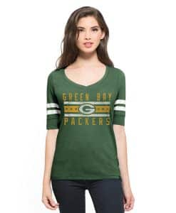 Green Bay Packers Flanker Backer Stripe T-Shirt Womens Pine 47 Brand