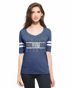 New York Giants Flanker Backer Stripe T-Shirt Womens Bleacher Blue 47 Brand