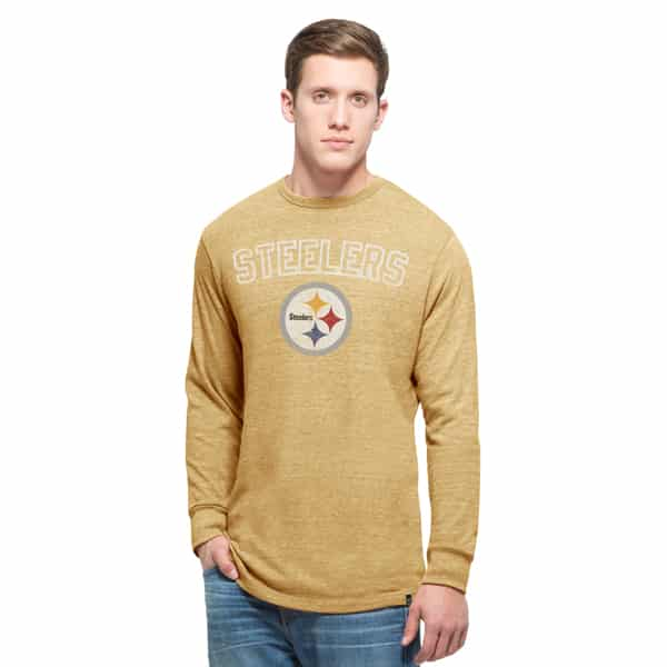 Pittsburgh Steelers Team Tri-State Long Sleeve T-Shirt Mens Honey Gold 47 Brand