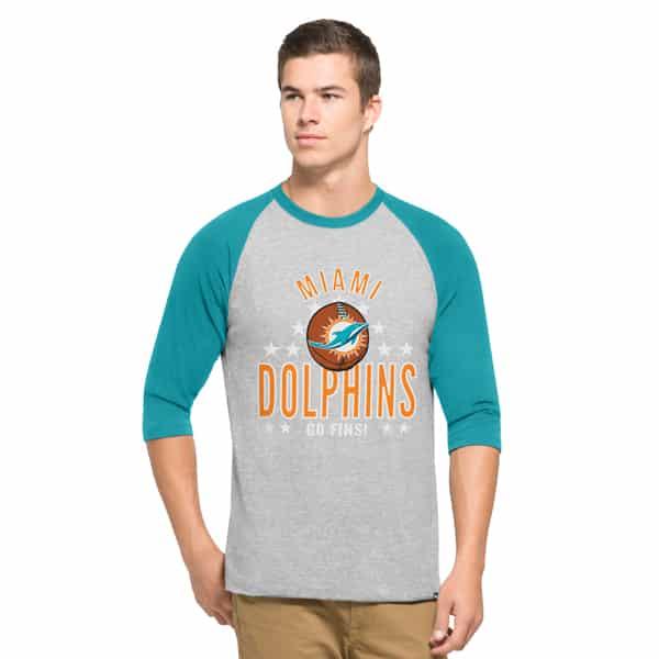 Miami Dolphins Lockdown Raglan Mens Olympus 47 Brand