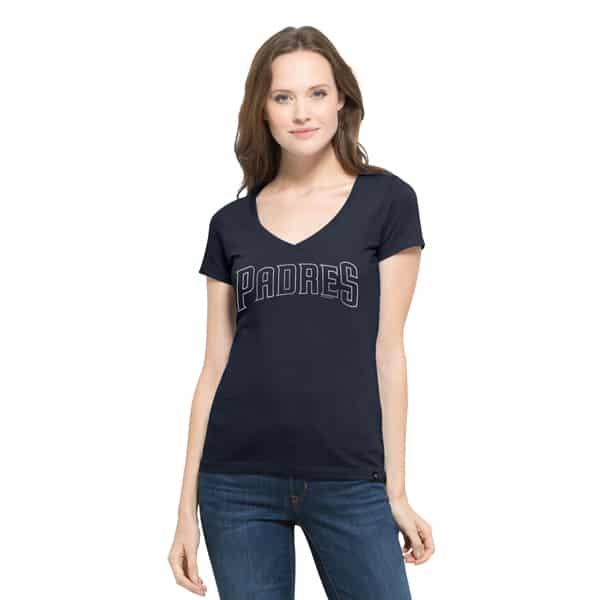 San Diego Padres Flanker Mvp V-Neck Shirt Womens Fall Navy 47 Brand