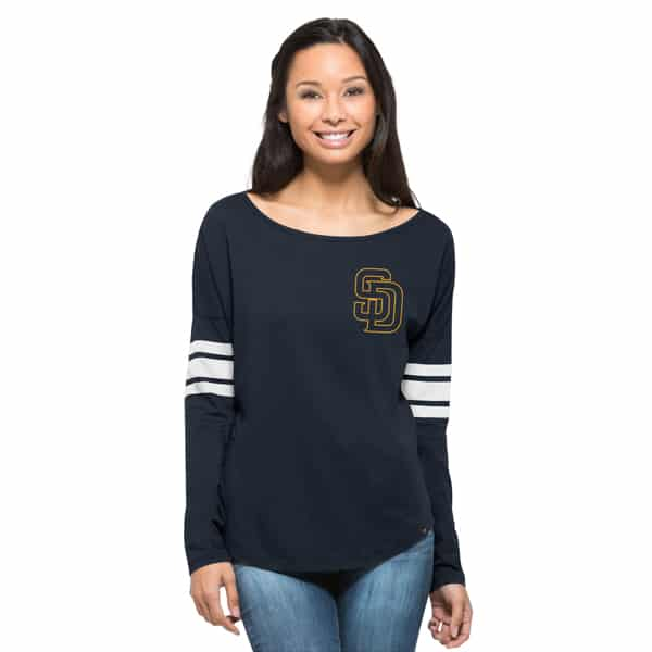 San Diego Padres Ultra Courtside T-Shirt Womens Fall Navy 47 Brand