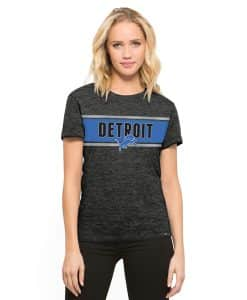 Detroit Lions 47 Brand Women's Carbon Black Clutch Hero T-Shirt