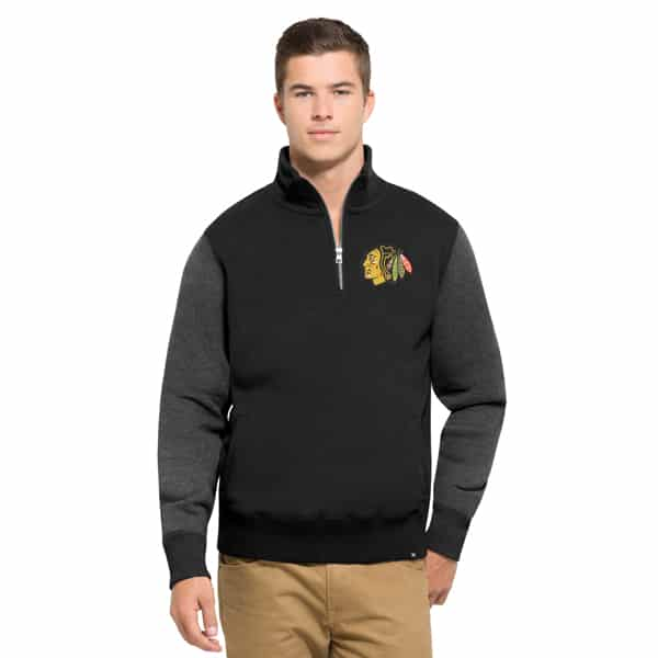 Chicago Blackhawks Triple Coverage 1/4 Zip Mens Pullover Shirt Jet Black 47 Brand