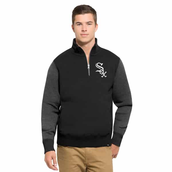 Chicago White Sox Triple Coverage 1/4 Zip Mens Pullover Shirt Jet Black 47 Brand