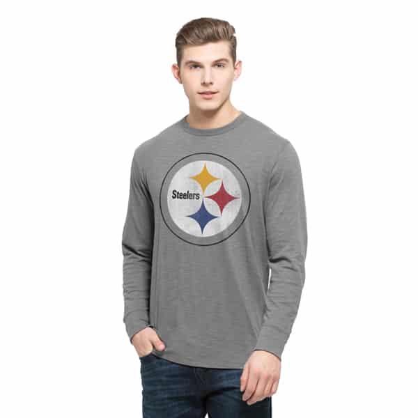 Pittsburgh Steelers Long Sleeve Scrum Mens Wolf Grey 47 Brand