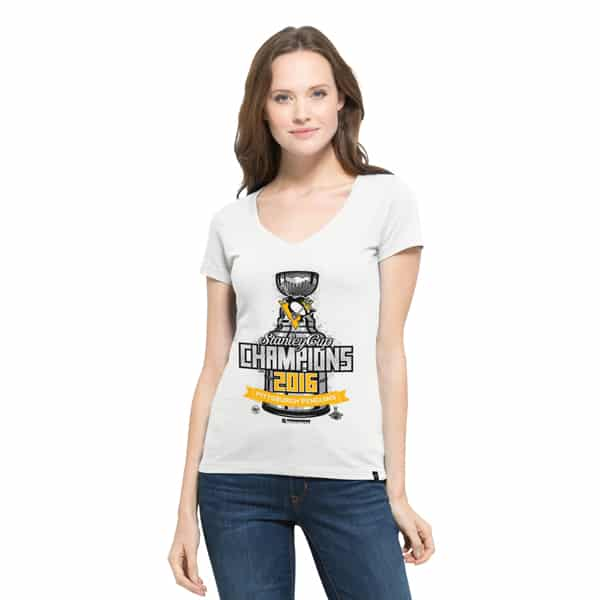 Pittsburgh Penguins All Pro Flanker V-Neck Shirt Womens White Wash 47 Brand