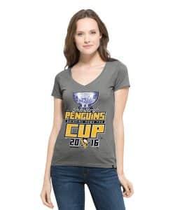 Pittsburgh Penguins All Pro Flanker V-Neck Shirt Womens Wolf Grey 47 Brand