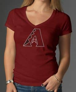 Arizona Diamondbacks V-Neck Shirt Scrum T-Shirt Womens Cardinal 47 Brand