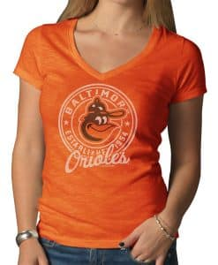 Baltimore Orioles V-Neck Shirt Scrum T-Shirt Womens Carrot 47 Brand