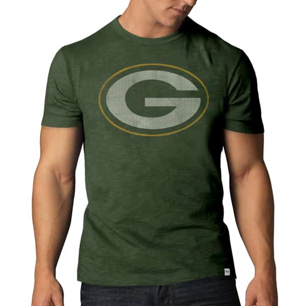Green Bay Packers Scrum T-Shirt Mens Bottle Green 47 Brand