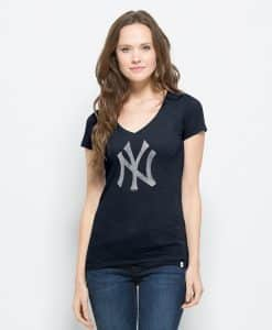 New York Yankees V-Neck Shirt Scrum T-Shirt Womens Fall Navy 47 Brand