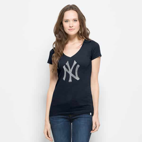 New York Yankees V-Neck Shirt Scrum T-Shirt Womens Fall Navy 47 Brand