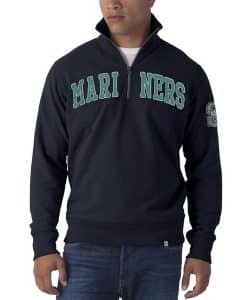 Seattle Mariners 47 Brand Fall Navy Striker 1/4 Zip Mens Pullover Shirt