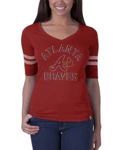 Atlanta Braves Flanker Stripe T-Shirt Womens Rescue Red 47 Brand
