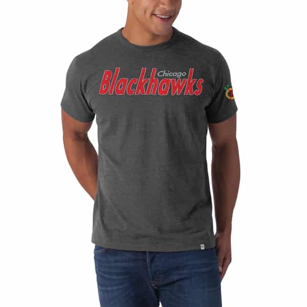 Chicago Blackhawks Allbright Fieldhouse T-Shirt Mens Blacktop Grey 47 Brand