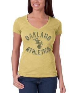Oakland Athletics V-Neck Shirt Scrum T-Shirt Womens Track Gold 47 Brand