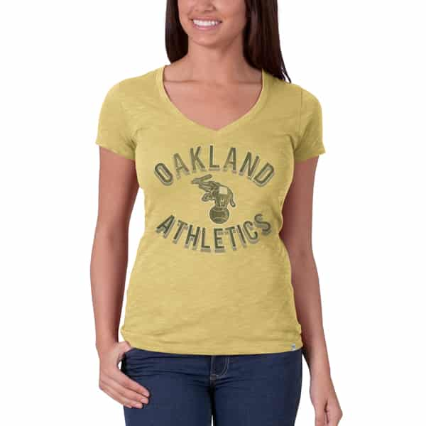 Oakland Athletics V-Neck Shirt Scrum T-Shirt Womens Track Gold 47 Brand
