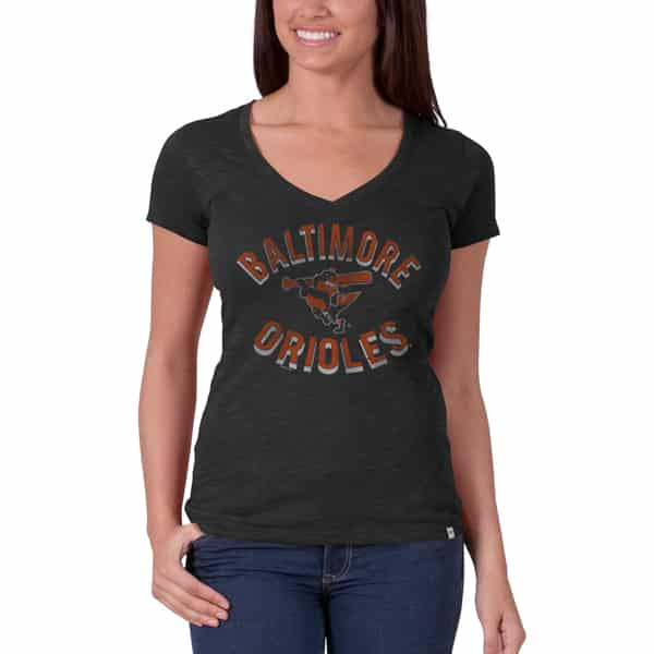 Baltimore Orioles V-Neck Shirt Scrum T-Shirt Womens Charcoal 47 Brand