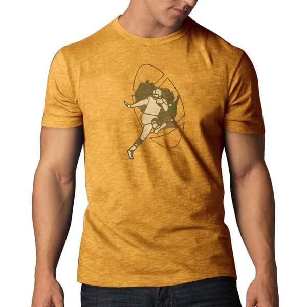 Green Bay Packers Scrum T-Shirt Mens Mustard 47 Brand