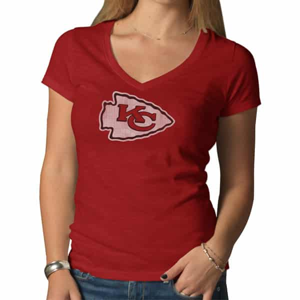 Kansas City Chiefs V-Neck Shirt Scrum T-Shirt Womens Rescue Red 47 Brand
