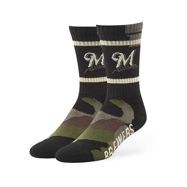 Milwaukee Brewers Duster Camo Sport Socks Frontline Green Camo 47 Brand