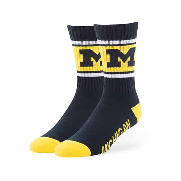 Michigan Wolverines Duster Sport Socks Navy 47 Brand