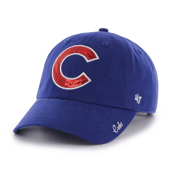 Chicago Cubs 47 Brand Womens Sparkle Blue Clean Up Adjustable Hat