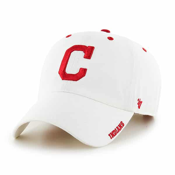 Cleveland Indians 47 Brand White Ice Clean Up Adjustable Hat