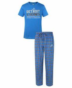 Detroit Lions Medalist Blue Pants & T-Shirt Pajama Set