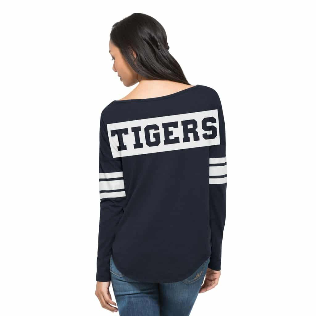 Detroit Tigers 47 Brand Womens Courtside Navy Long Sleeve Shirt Back