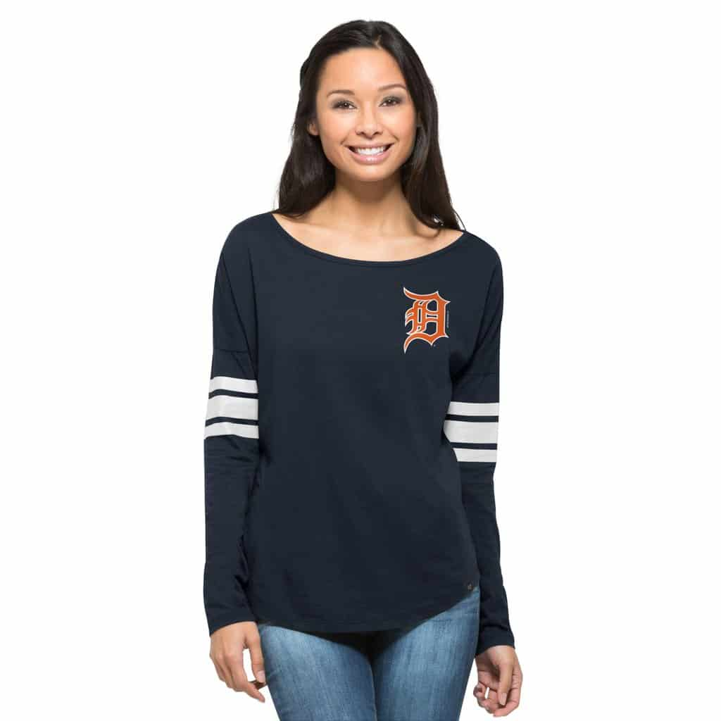 Detroit Tigers 47 Brand Womens Courtside Navy Long Sleeve Shirt