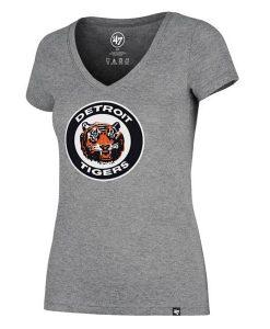 Detroit Tigers Women's 47 Brand Gray Classic V-Neck Tee T-Shirt