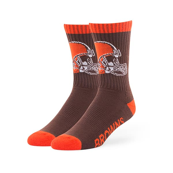 Cleveland Browns LARGE Bolt Sport Socks Brown 47 Brand