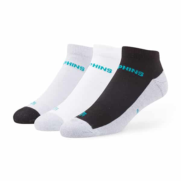 Miami Dolphins Rush Motion Low Cut Socks 3 Pack Tonal 47 Brand