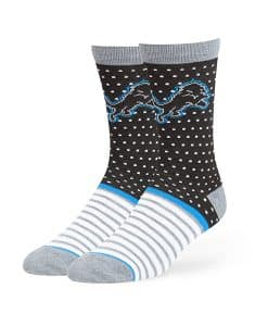 Detroit Lions Willard Flat Knit Socks Black 47 Brand