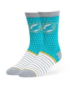 Miami Dolphins Willard Flat Knit Socks Neptune 47 Brand