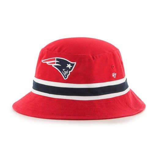 New England Patriots SM 47 Brand Striped Red Bucket Hat