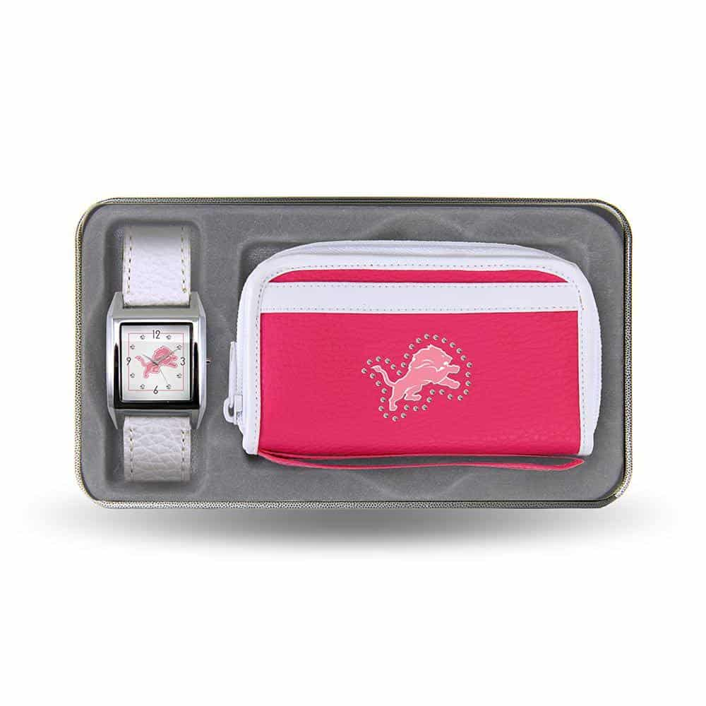 Detroit Lions Women's Pink WatchWallet Gift Set
